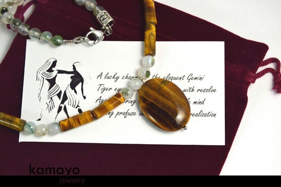 GEMINI NECKLACE - Tiger Eye Pendant and Grey Agate Beads