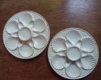 Pair  of French Longchamp luxury  majolica oysters plates , 1940 , very nice condition , white and silver lines