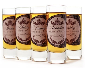 Bridesmaid Gift // 4 Personalized Shot Glasses for your Bridesmaid or Maid of Honor