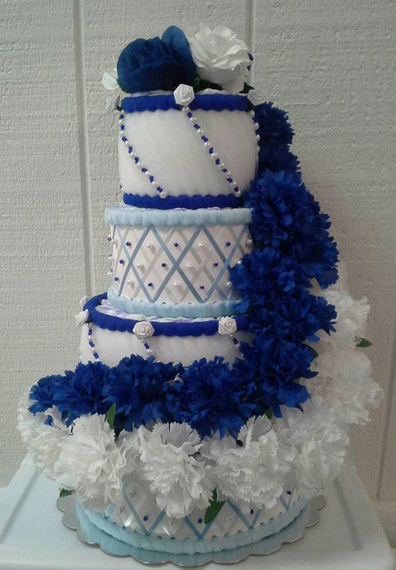 Royal Blue Light Blue White Diaper Cake Baby Boy Shower