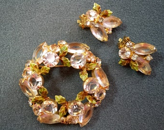 High Quality Vintage Brooch and Earrings with Light Pink Rhinestones and Green Enameled Leaves.  Free shipping