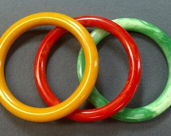Three Colorful Bakelite Bangle Bracelets-Red, Green, and Butterscotch.  Free shipping