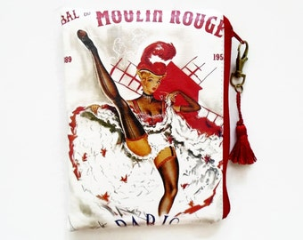 Waterproof Vintage French Moulin Rouge Wallet, tampon pouch, glasses case, makeup.
