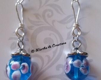 Blue Lampworks Glass Silver Earrings