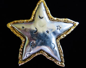 Stunning Two Tone JJ Celestial Star Brooch Pin