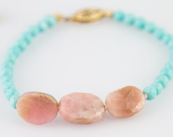 Pink Opal and Turquoise Bracelet