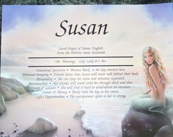 PERSONALIZED NAME GIFT Mermaid By The Sea Personalized Your Name and  Meaning Gift 8.5 X 11, ships in 24 hours !