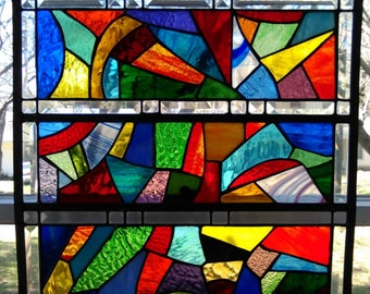 Abstract Stained Glass Window Panel Suncatcher in Stunning Colors & Textures 20x20