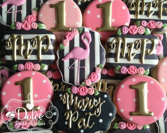 Flamingo Shabby Chic Floral Black White Gold First Birthday Monogram Cookies