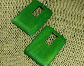 Green Earrings -Green Wooden Earrings - Green Wood Earrings - Green Rectangle Earrings - Dangle Earrings Geometric Earrings Rasta Earrings