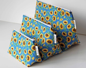 Cheerful Sunflowers Makeup and Wash Bag. Great Gift for Ladies.