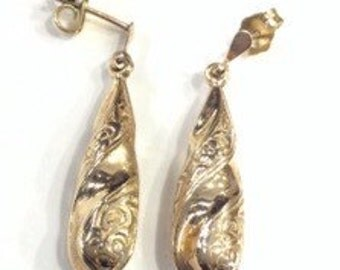9ct gold bomb drop earrings