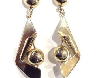 9ct gold drop earrings