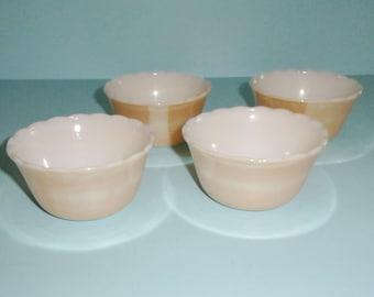 Fire King Copper Tint Set of 4 Custard Cups 6 Oz Scalloped Edge Dessert Bowls Vintage Anchor Hocking Glass