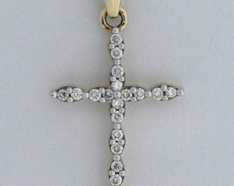 Cross Necklace Genuine Diamond 14kt Yellow Gold