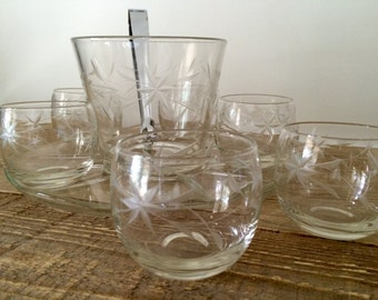 Vintage Set of 6 Cut Glass Rocks Glasses with Ice Bucket and Tray