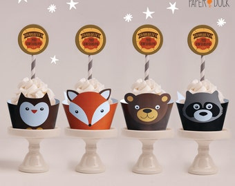 4 X Personalised WOODLAND ANIMALS Children's Birthday Party Cupcake Wrappers Raccoon Owl Fox Bear Toppers