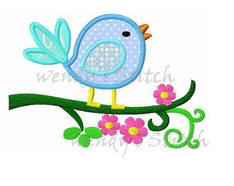 sweet bird on flower tree branch machine embroidery design applique instant download