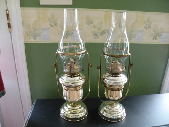 Wall Hurricane Lamps : Vintage Oil hurricane Lamp Wall mount . Pair.