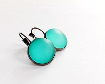 Green Frosted Glass Dangle Earrings Gunmetal Lever Back  Boho Minimalist Jewelry