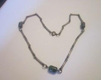 Antique Millefiori Art Glass Chain & Beaded Necklace