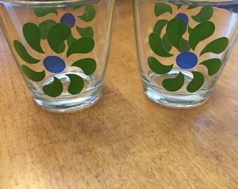 Vintage Hazel Atlas Green Flower Sour Cream Glasses Set of 2