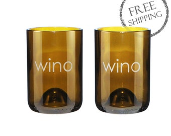 Set of Two 14 oz Wino Engraved Amber Wine Bottle Glasses