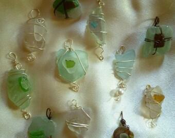 sea glass and wire pendants