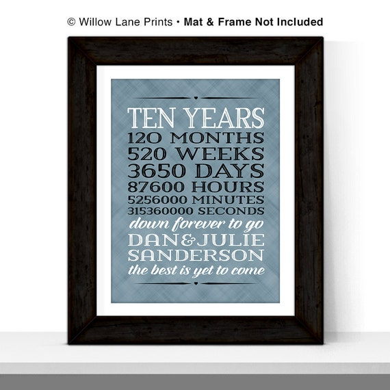 10th Wedding Anniversary Gift Husband : 10 year anniversary gift for men, 10th wedding anniversary, months ...