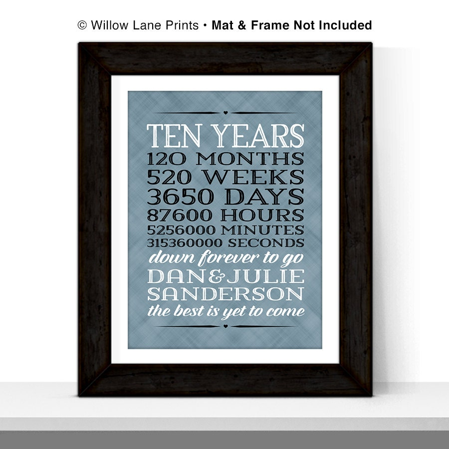 Wedding Gifts For 10 Year Anniversary : 10 year anniversary gift for men 10th wedding by WillowLanePrints
