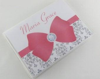 Girl Photo Album personalized photo album baby shower gift baby album Grandmas brag book silver damask 4x6 or 5x7 picture 601