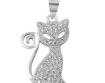 925 Sterling Silver Cat Clear CZ Pendant