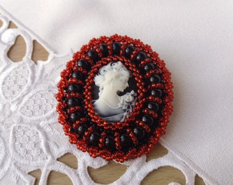 Bead embroidery Brooch Cameo