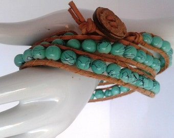 Triple Leather Wrap Bracelet with Czech Glass Beads