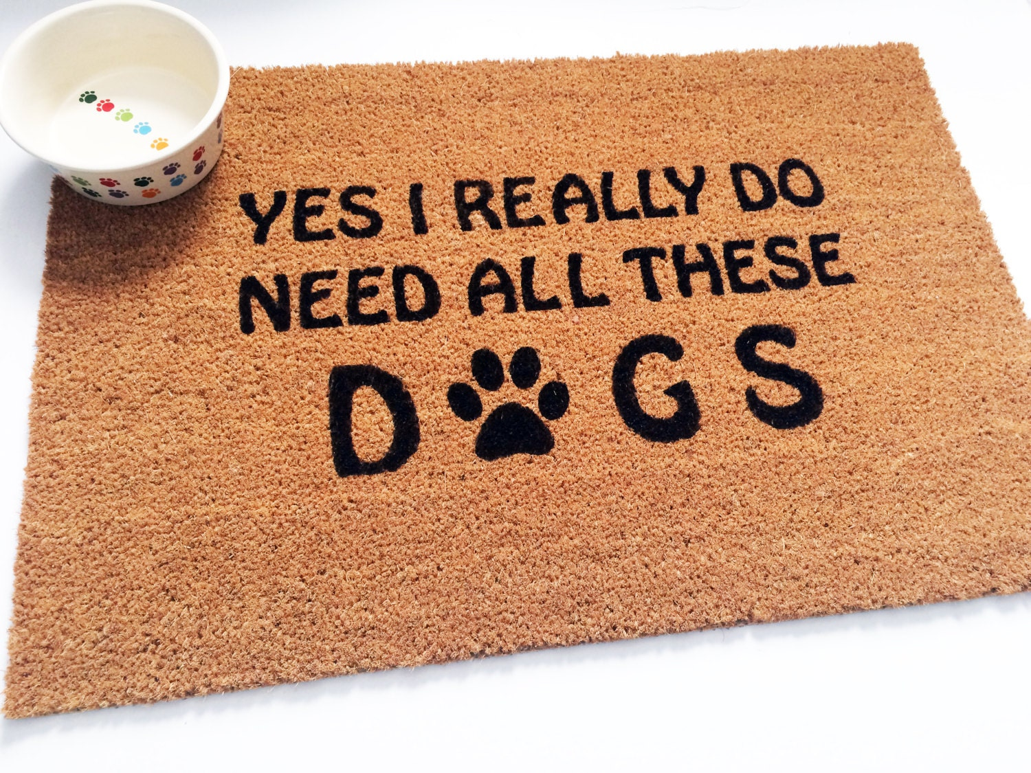 All Dogs Welcome Mat Hand Painted Dog Rug Door Mat Yes I
