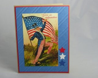 Handmade Greeting Card: Memorial Day, Veteran's Day, 4th of July Patriotic, Stars and Stripes Military USA Soldier Troops Veteran Thank You