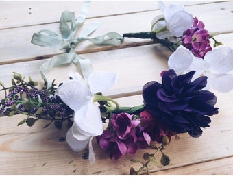 Purple Wedding Flower Crown, Floral Crown, Boho Flower Crown, Bridesmaid Hair Accessory, Flower Headband, Flower Girl Gift