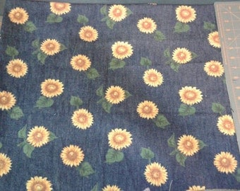 Denim fabric fat.squares...with sunflowers.