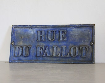 Rare Antique French Street Sign, Rue du Fallot Industrial Wall Decor