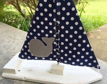Toy/Photography Prop Sailboat- White Boat w/Navy Polka Dot Sail, grey whale