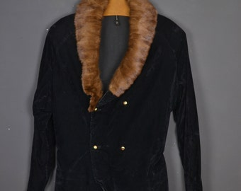 Vintage velvet and fur mink blazer jacket - like a duffle-coat double-buttoning