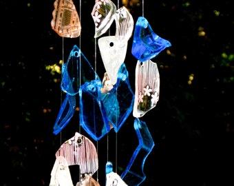 Glass wind chimes - tumbled sea glass windchime