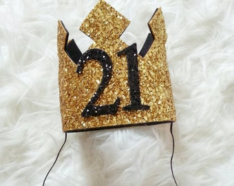 Ready to Ship GLITTERY Gold and Black  21st Birthday Crown , Birthday Crown, 21, Birthday