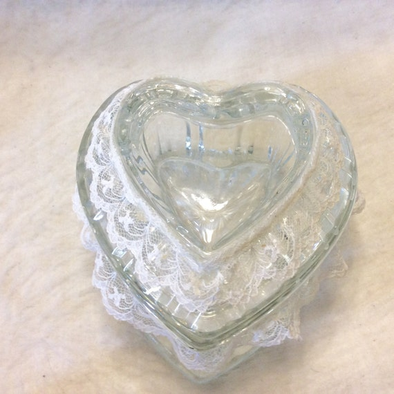 vintage homco heart shaped glass trinket jewelry dish free