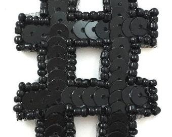 """Hashtag Applique, Black Sequin Beaded, 2"""" x 2""""  -30580"""