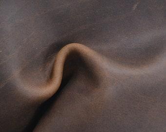 """Medium Brown Leather Oil Tanned Cowhide 4"""" x 6"""" Pre-cut 5 ounces TA-33915 (Sec. 3,Shelf 6,C,Box 1)"""