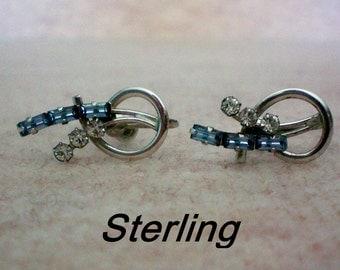 Sterling Silver Signed CARL ART Screw Back Rhinestone Earrings - 4551