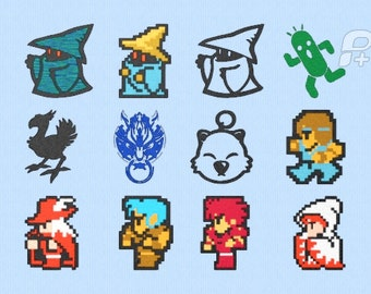 "Final Fantasy 8 bit Embroidery Designs Set of 12 - 4"" by 4"""