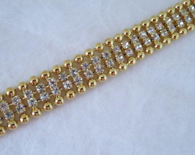 Gorgeous Vintage Rhinestone Bracelet Czechoslovakia 1950's Gold plated
