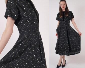 Vintage 40s 50s Atomic Black White Starry Print Dress Sz M